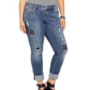 Torrid Premium Skinny Patch Distressed Jeans